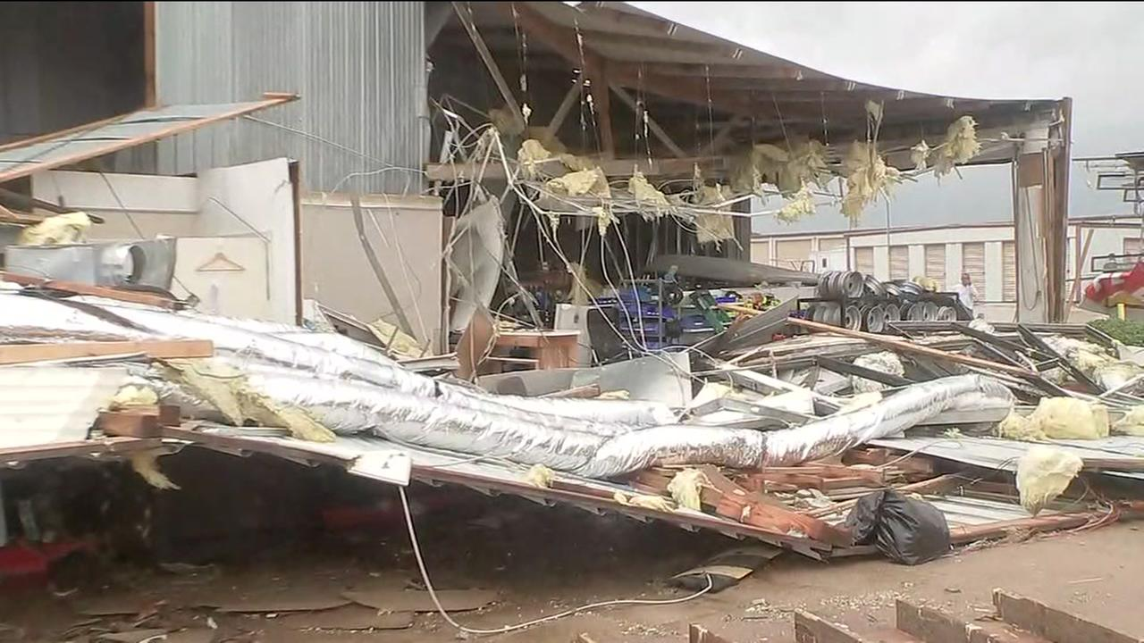 Possible tornado damages business in Katy