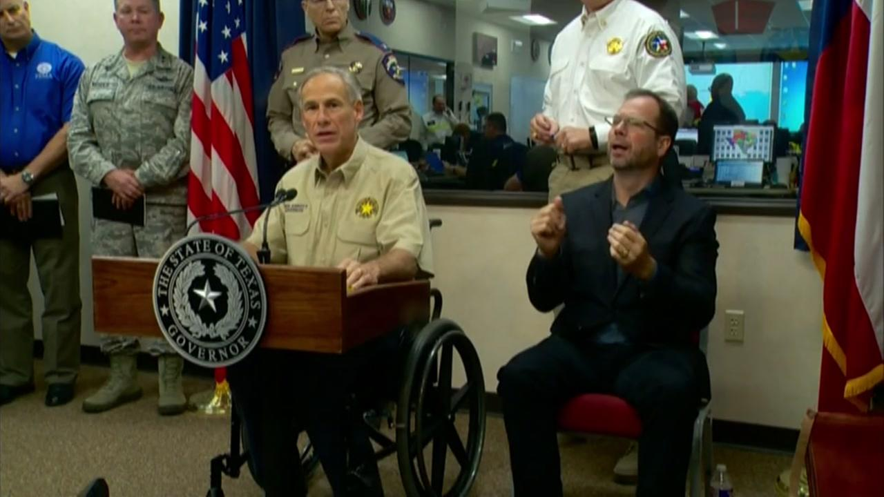 Texas Governor Greg Abbott briefs media on Hurricane Harvey