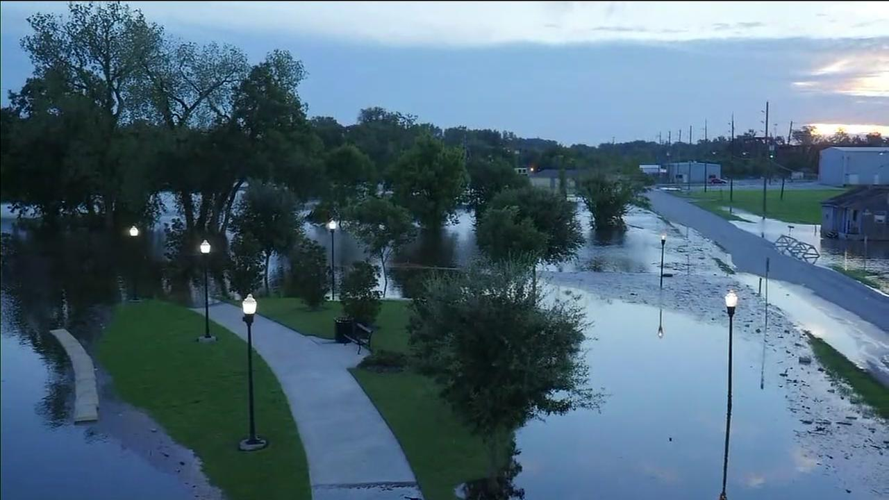 New drone video shows flooding in Richmond