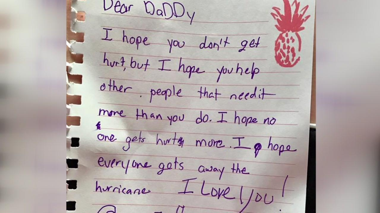 Kids write dad heartfelt note about Hurricane Harvey