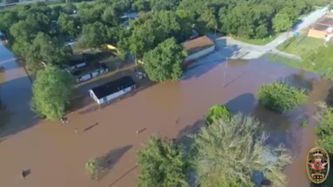 VIDEO: Drone footage of Brazos River flooding in Rosenberg