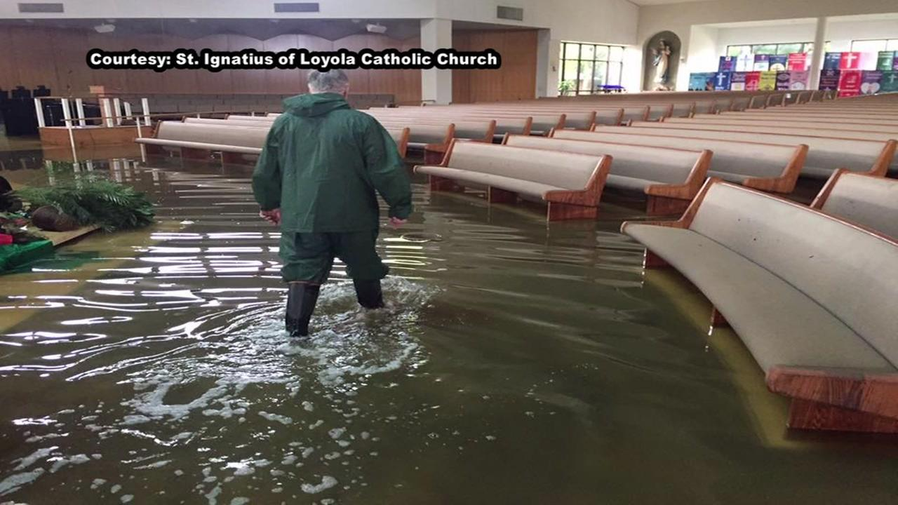 Flooded church holding masses at Klein HS