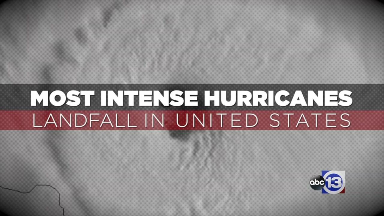 Most intense hurricanes to make landfall in the US