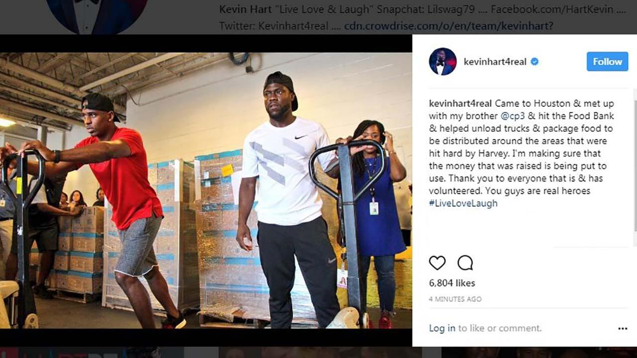 Kevin Hart joins Chris Paul to give back to Hurricane Harvey relief efforts