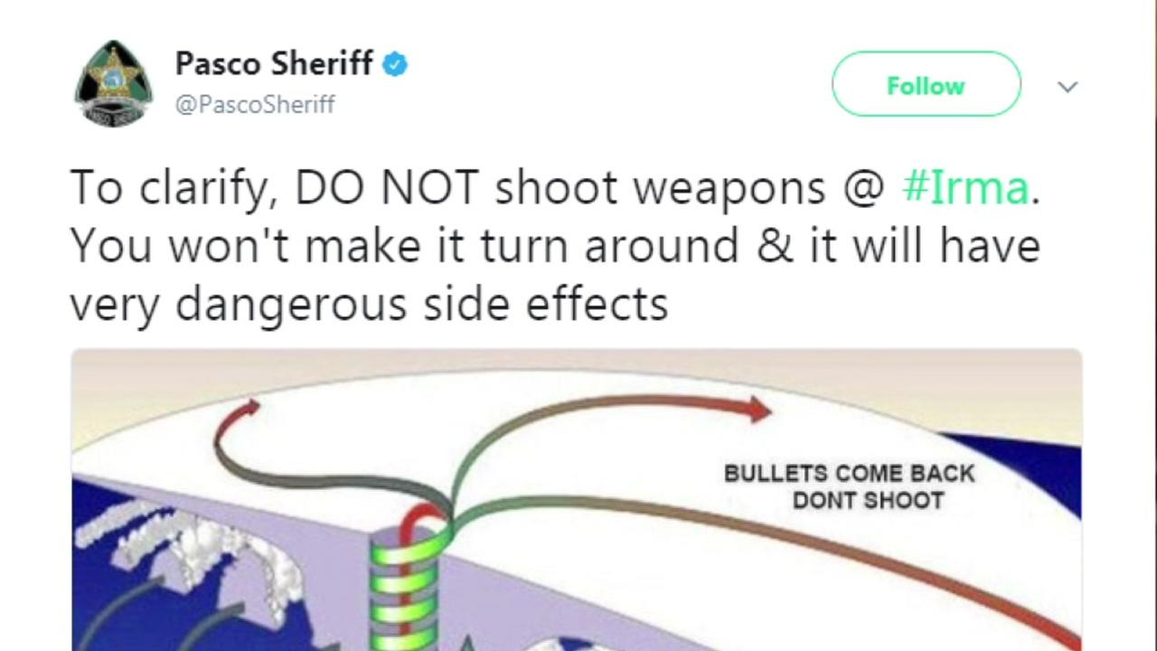 Florida sheriff tells people not to shoot at hurricane