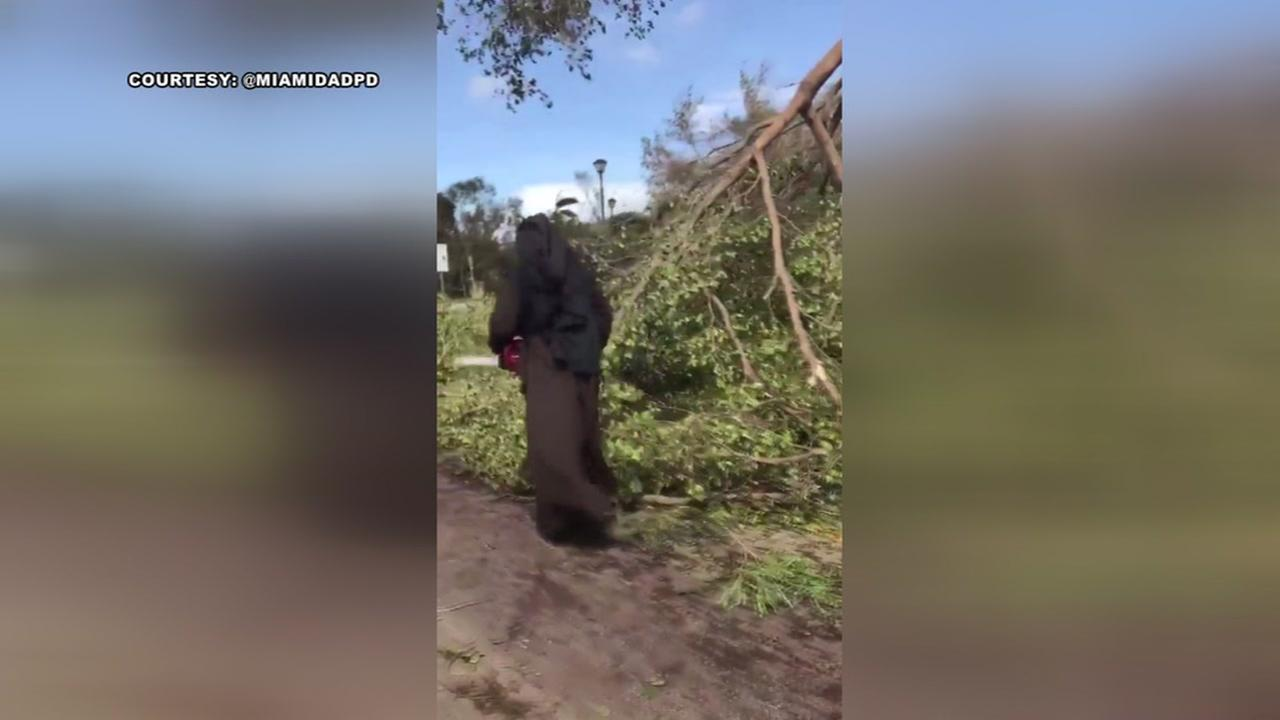 Nun uses chainsaw to help clean after Hurricane Irma