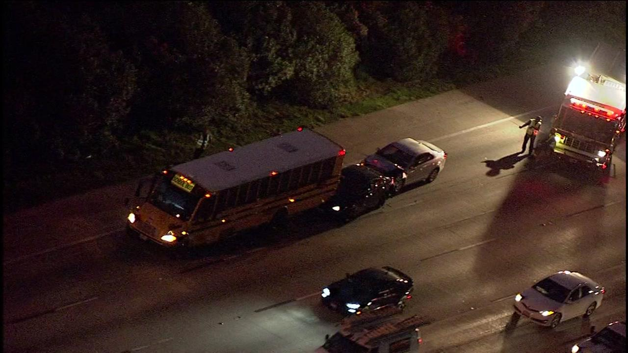 Crash involving school bus snarls traffic on East Loop