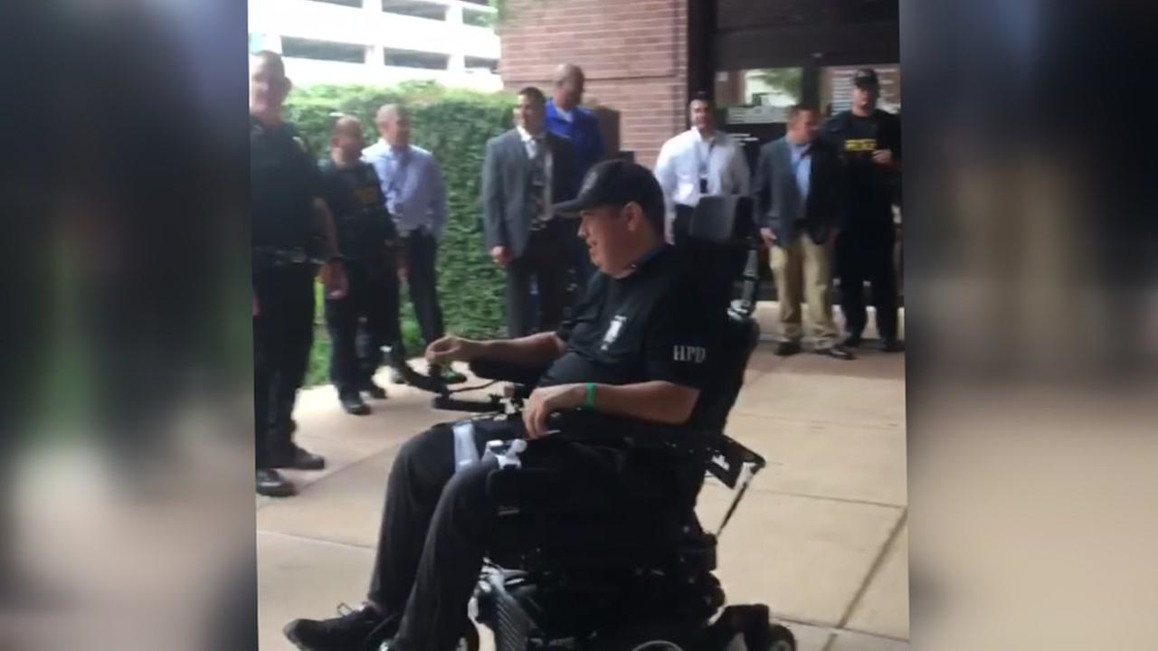 HPD officer shot by burglary suspect released from hospital
