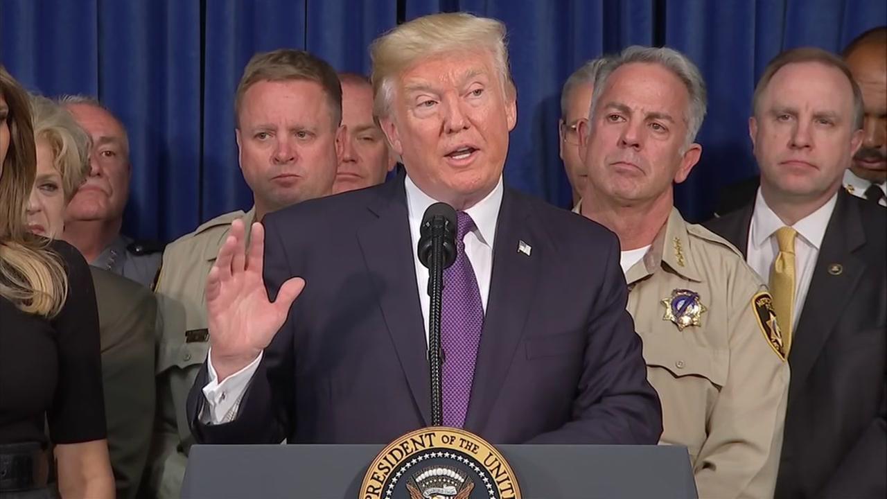 President Trump speaks in Las Vegas after meeting victims