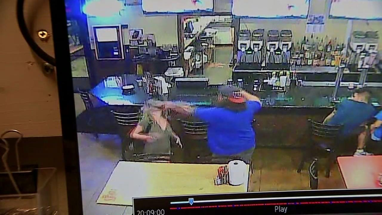 Brawl inside restaurant caught on tape