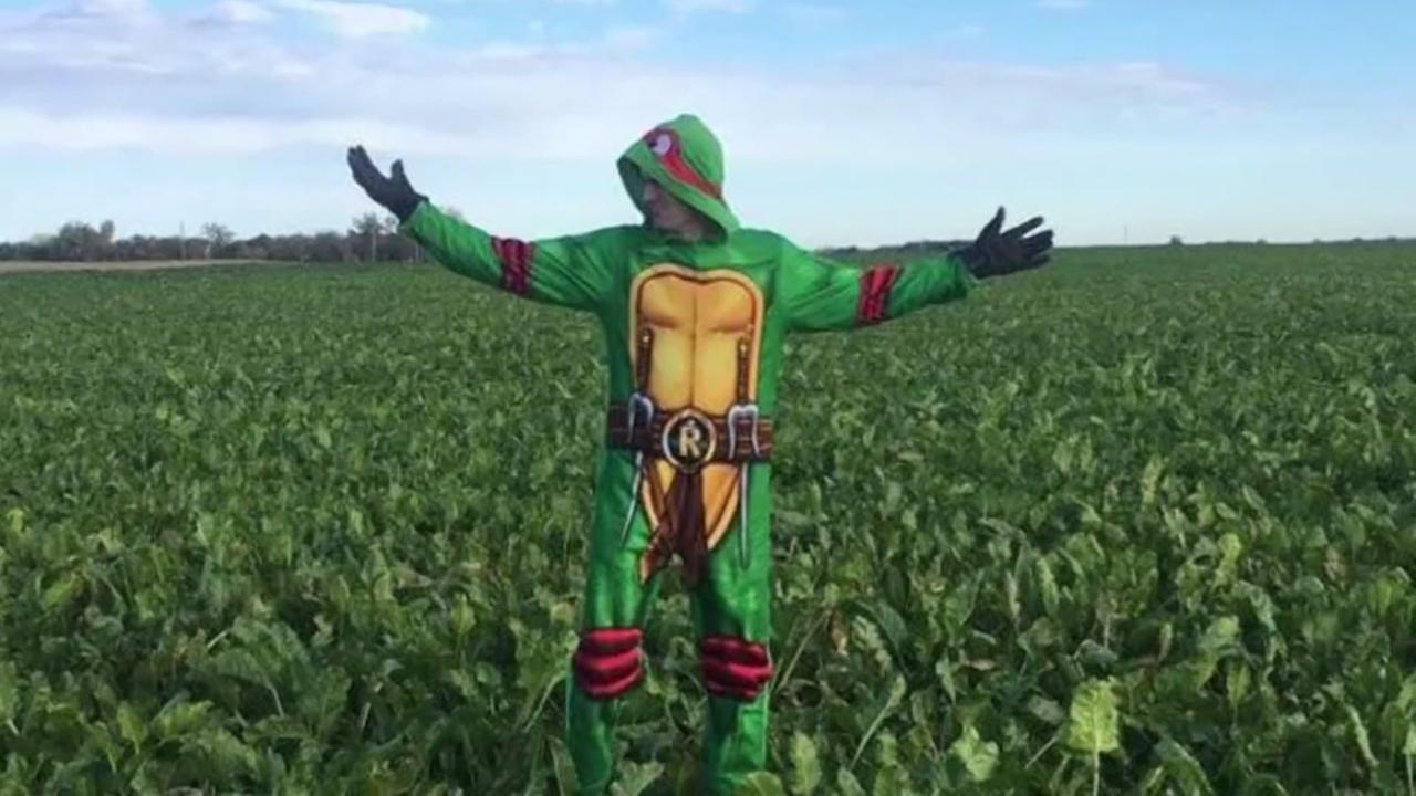 Farmer wears costumes to work