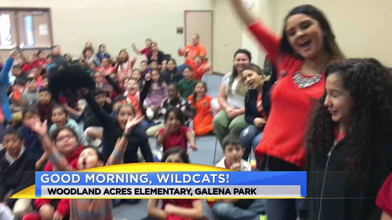 Meteorologist Travis Herzog visits the Woodland Acres Wildcats of Galena Park ISD