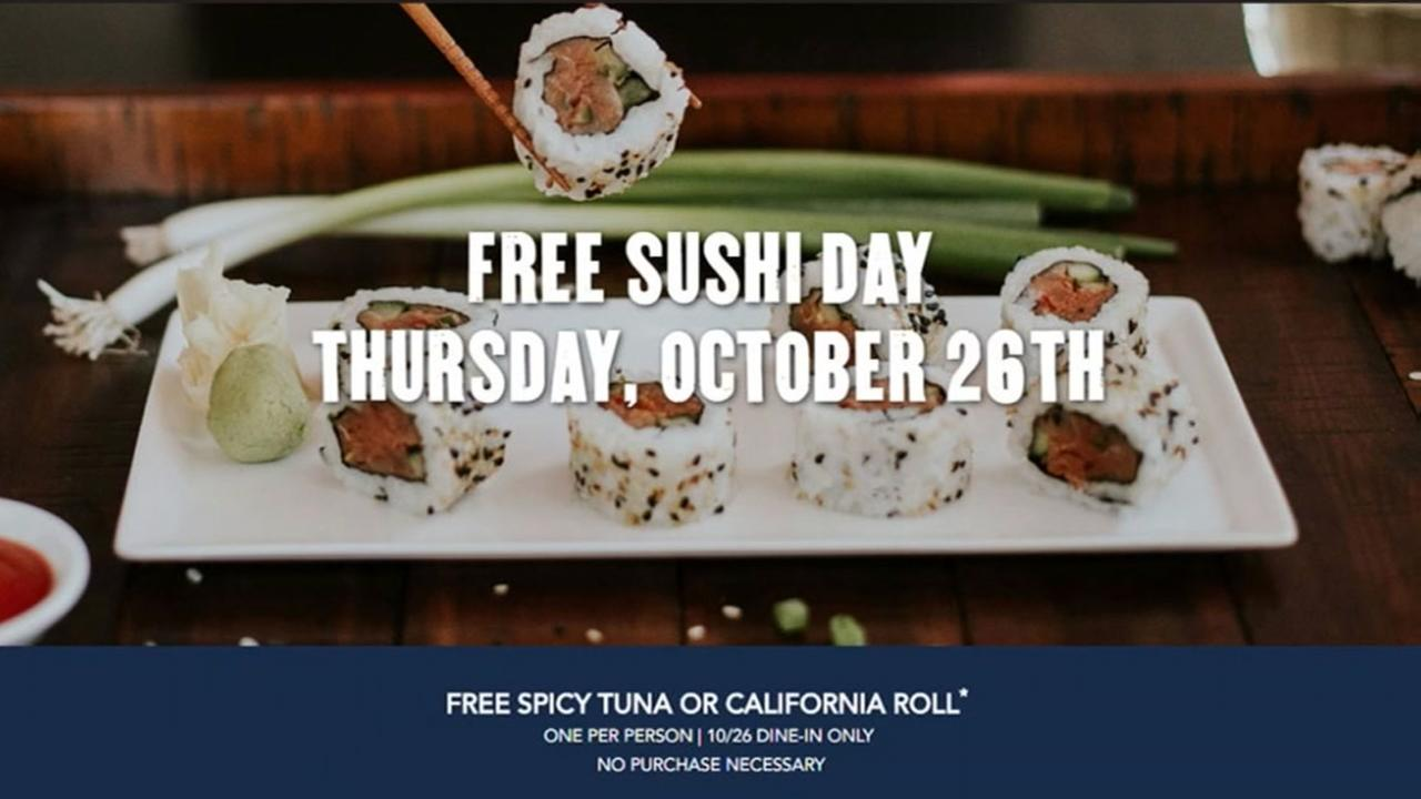 Free sushi: PF Changs giving away rolls for one day only