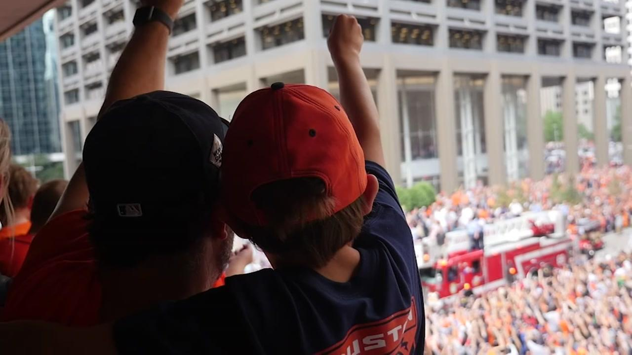 Follow a father and son as they celebrate the Astros