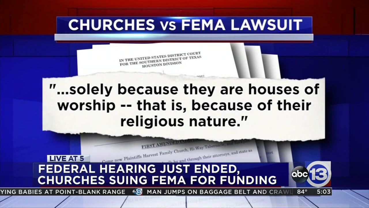Churches file lawsuit against FEMA over grants