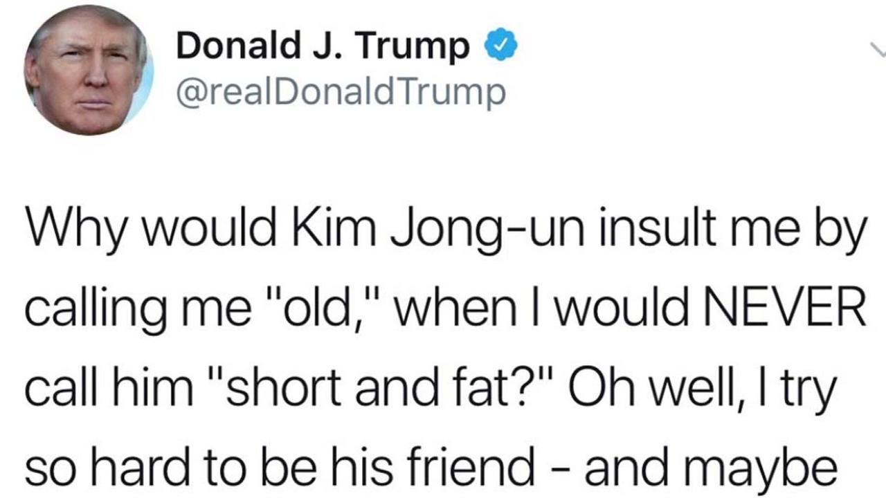 Trump says he would never call Kim Jong-un short and fat
