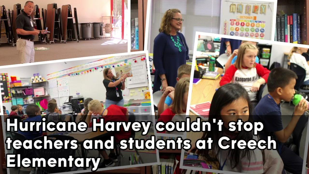 Teachers and students at Creech Elem., are making it work after Hurricane Harvey forced them to move into temporary classrooms