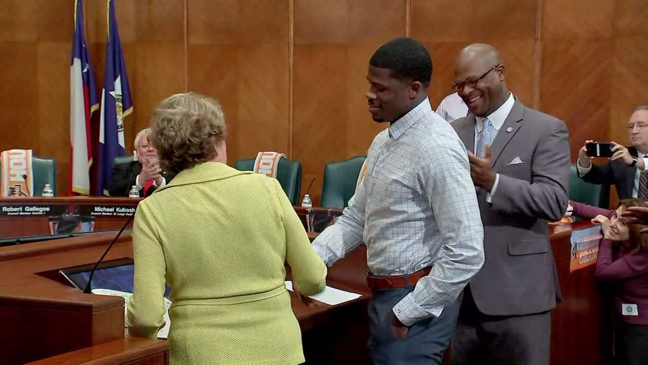 Andre Johnson honored at Houston City Council