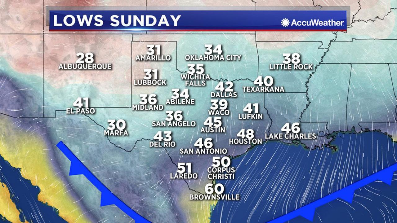 Cold front Sunday