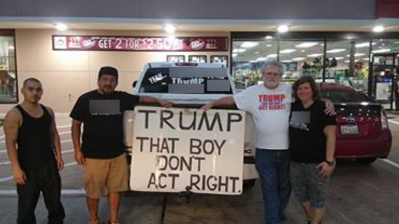 The Fort Bend County woman who made headlines for her F Trump truck sticker appeared to have made a new friend.