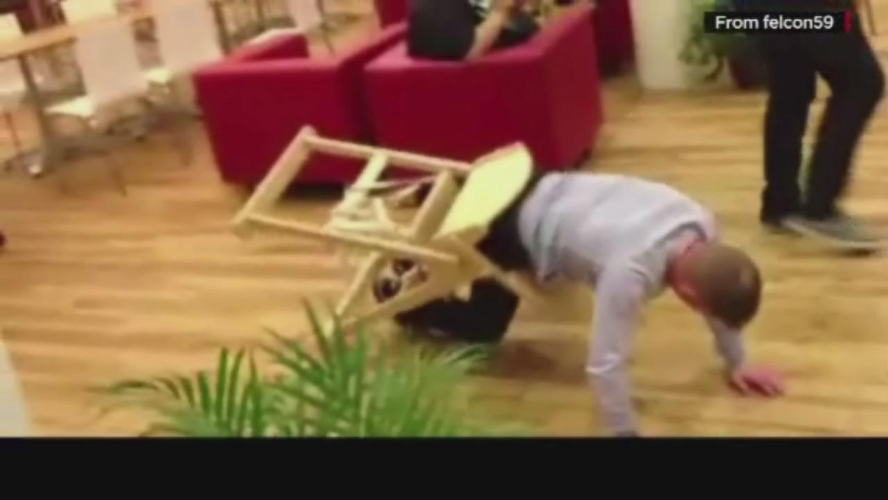 Man stuck in high chair