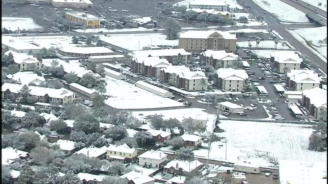 Aerial tour of snow in the Houston area
