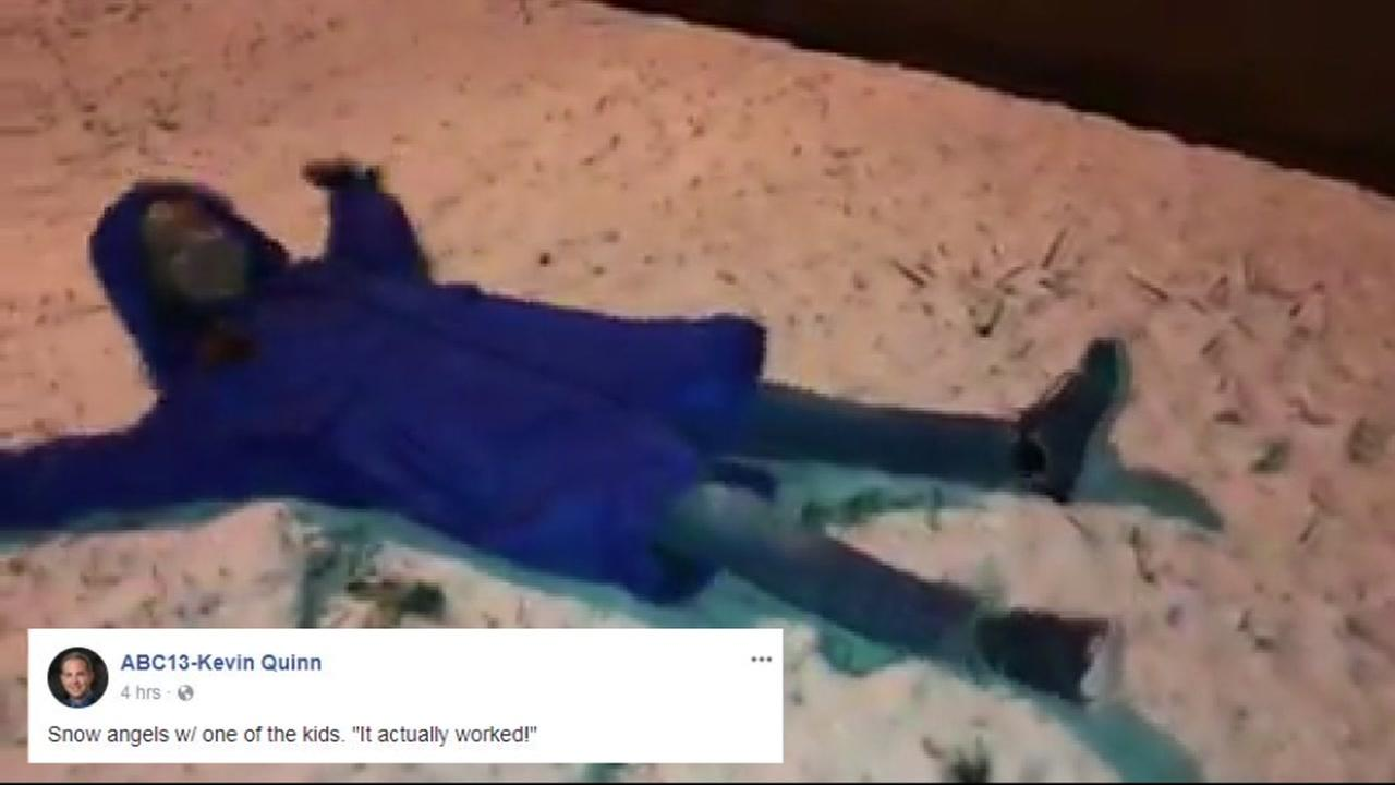 The ABC13 staff got up early to play in the snow before heading into work!
