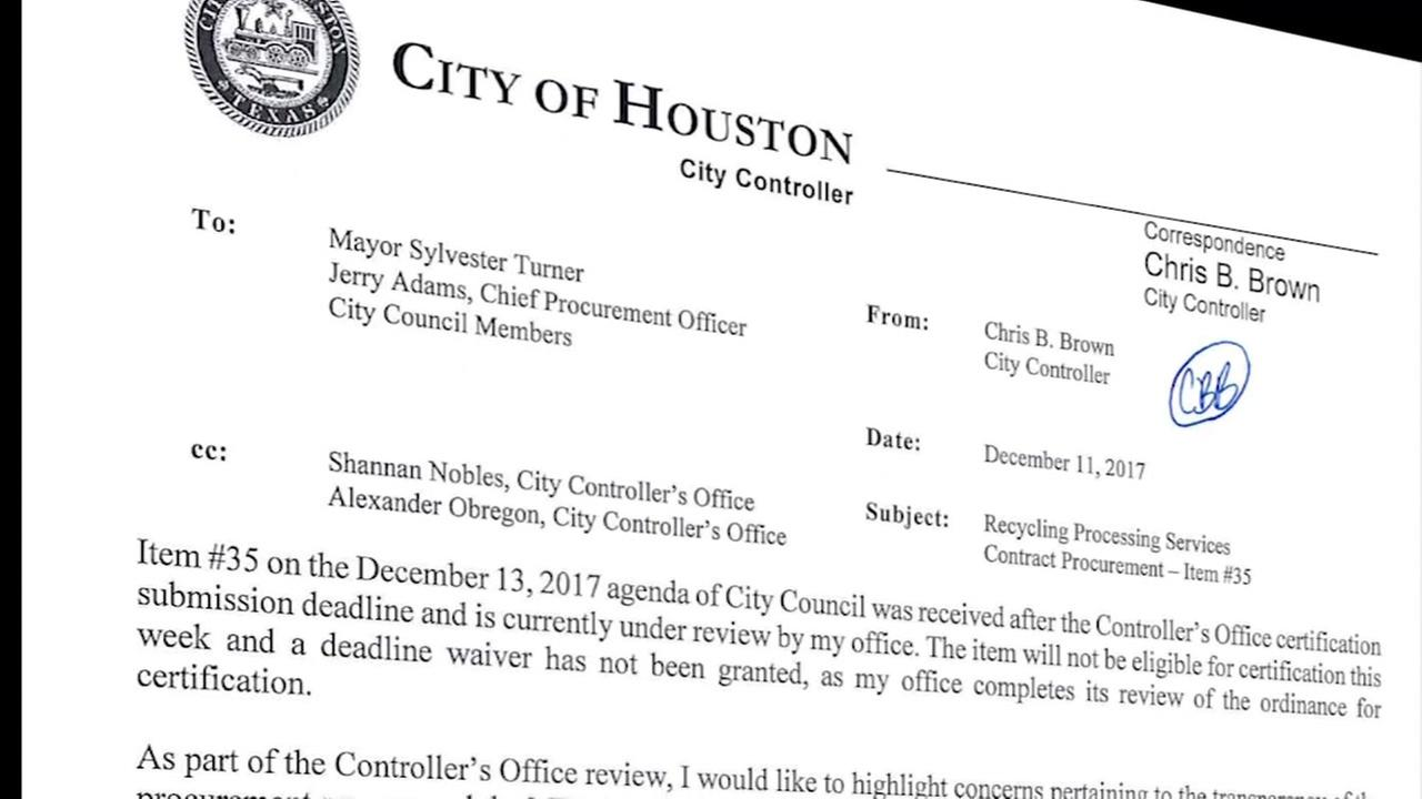 City controller stops city recycling contract from moving forward