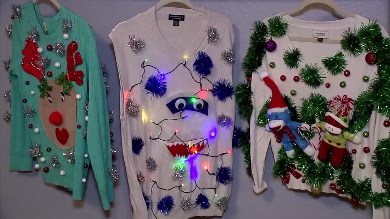 Spring womans tacky Christmas sweaters raise money for needy