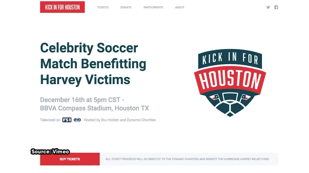 Celebrities playing in Kick In For Houston soccer match for Hurricane Harvey relief