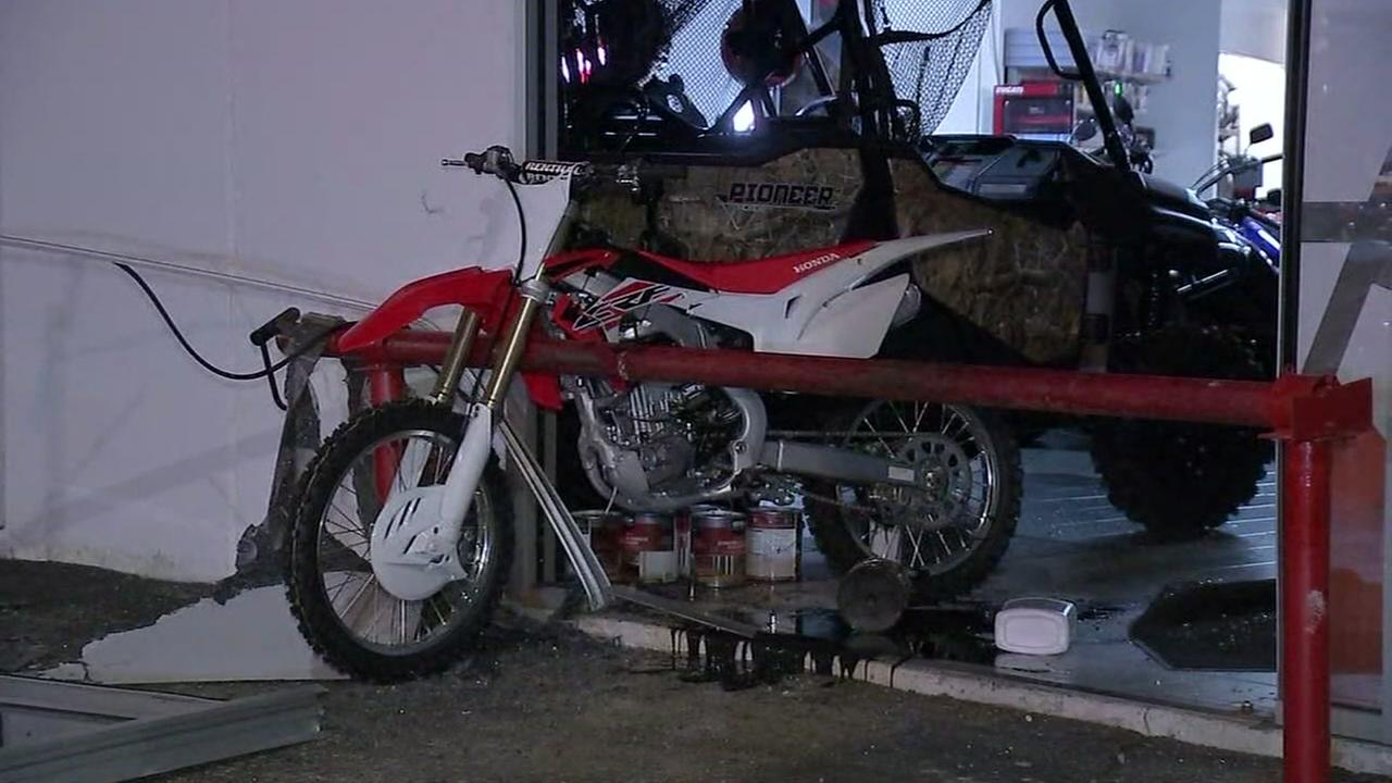 Thieves smash into motorcycle dealership to steal dirt bikes