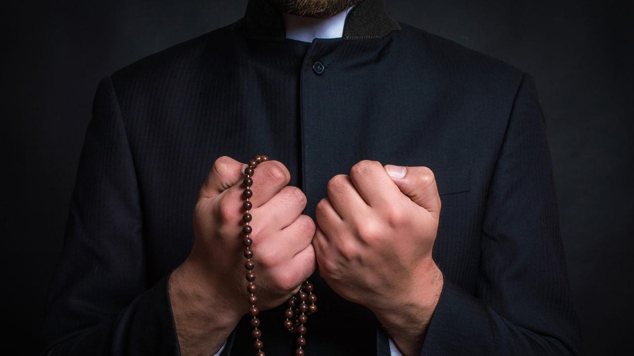 Catholic priest collar - prayer beads