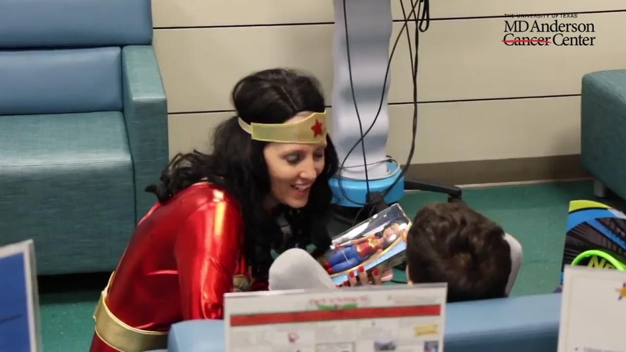 Superheros visit kids at MD Anderson Hospital