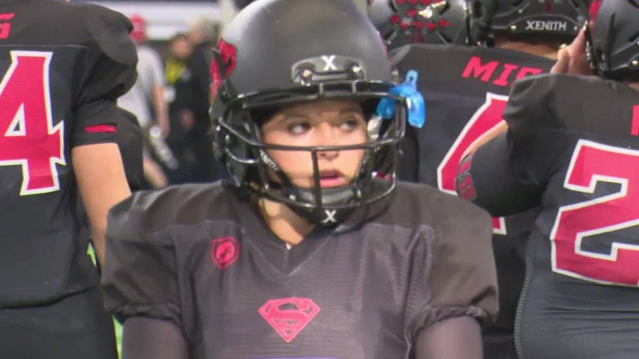 Female kicker makes history in Texas state title game