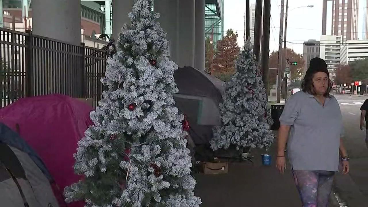 Christmas trees donated to homeless camp