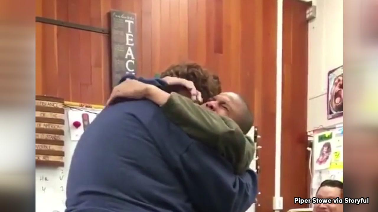 Student overcome with emotion after fellow student replace stolen gift