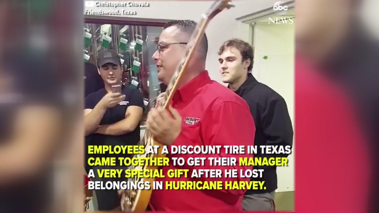 Employees buy manager new guitar after Harvey