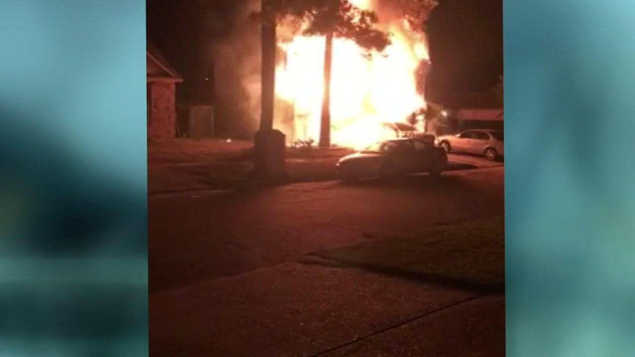 Massive house fire collapses home on Harvey ravaged street
