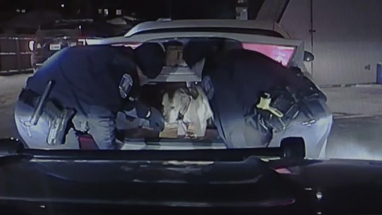 Officers rescue abused dog from trunk