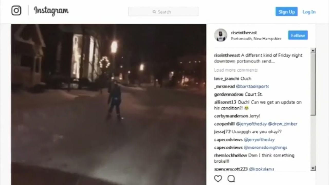 Police investigating after skier is pulled down street buy a car