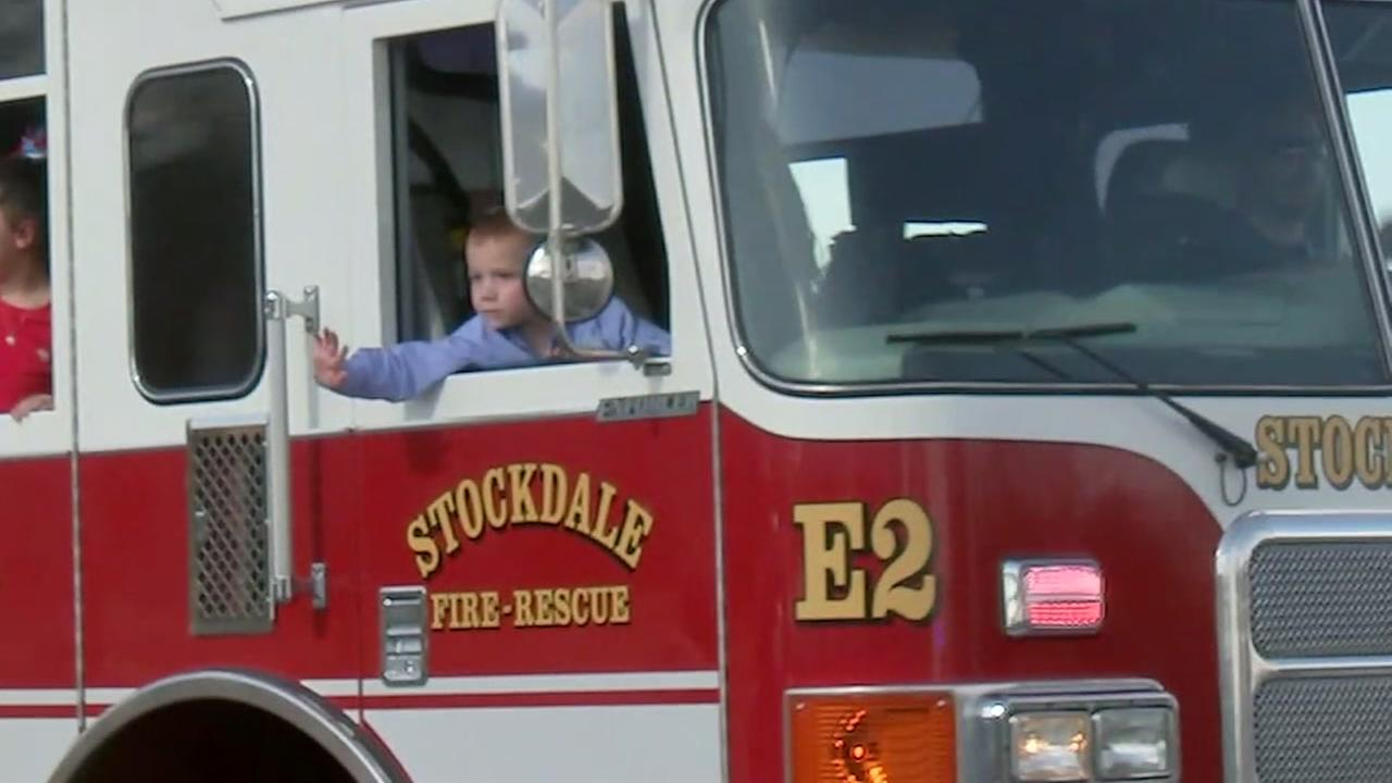 6-year-old leaves hospital on fire truck