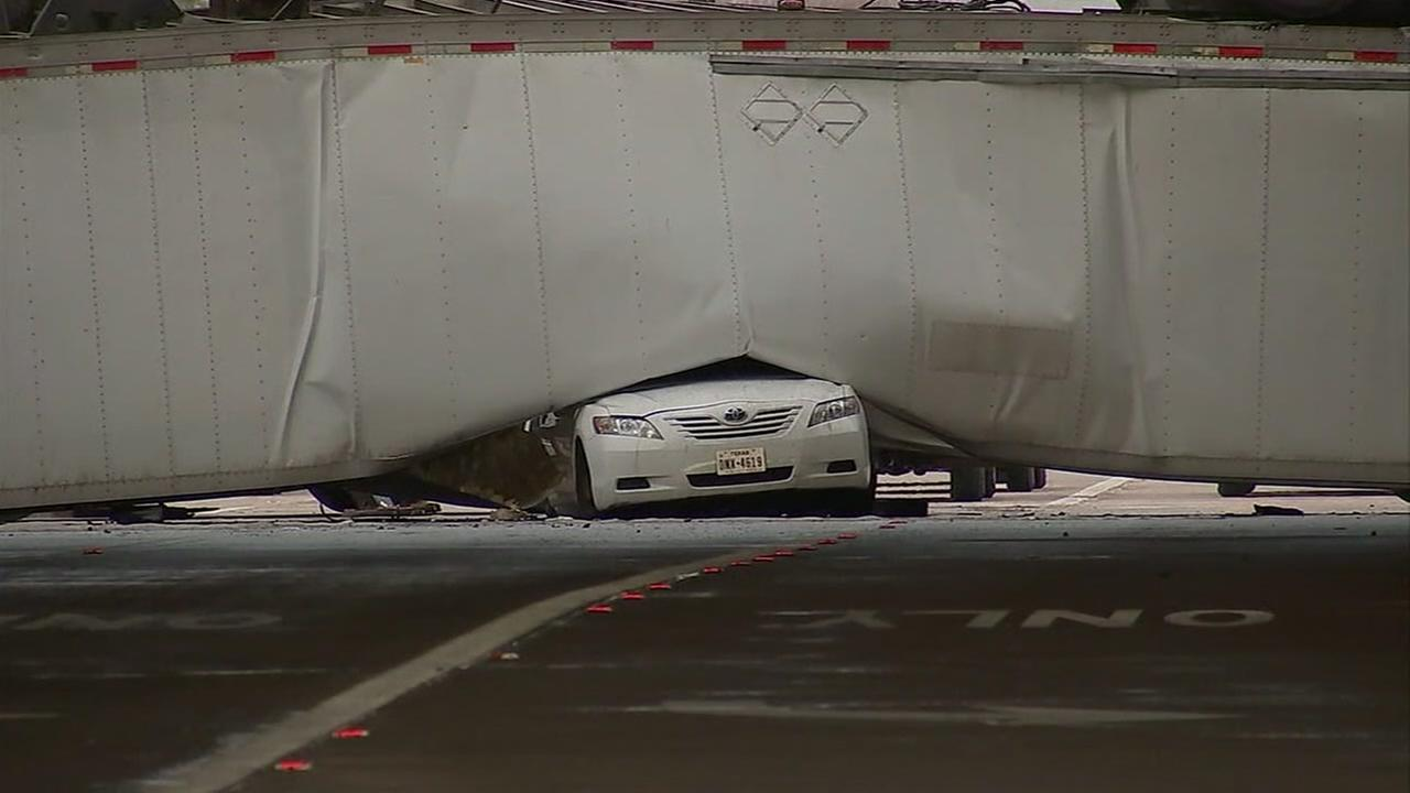 Driver inside car that was crushed by falling big rig speaks