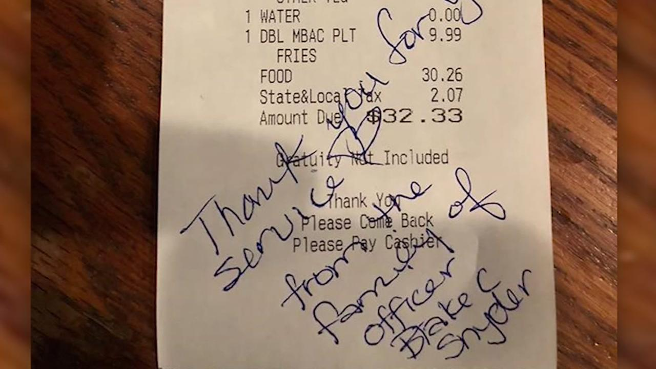 Family of murdered police officer buys meals for cops