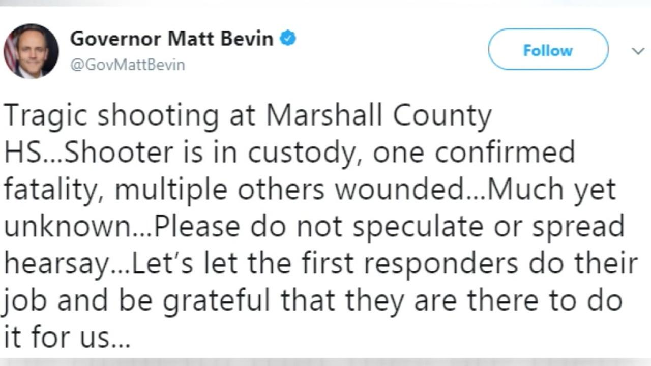 One killed in Kentucky school shooting