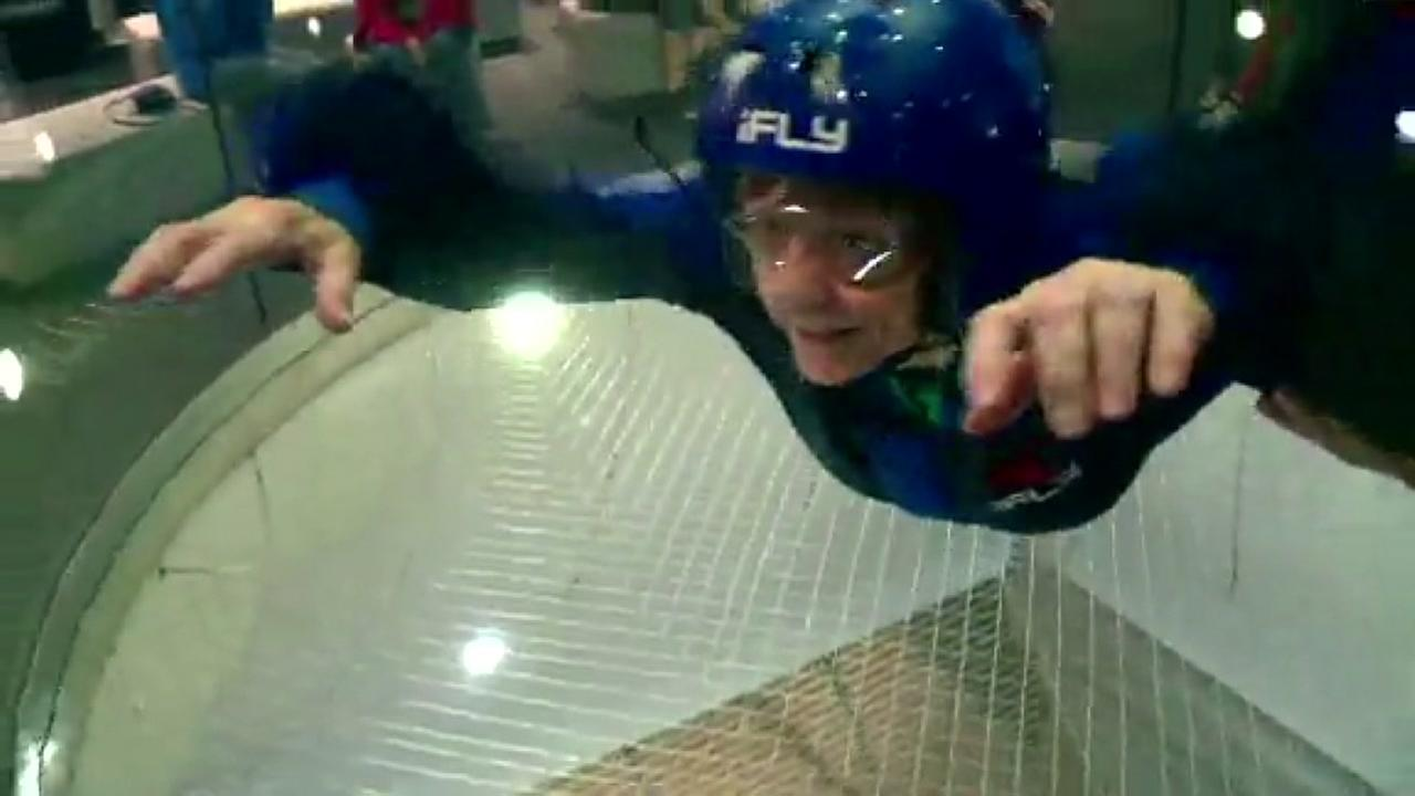 92 year old woman marks birthday with indoor skydive