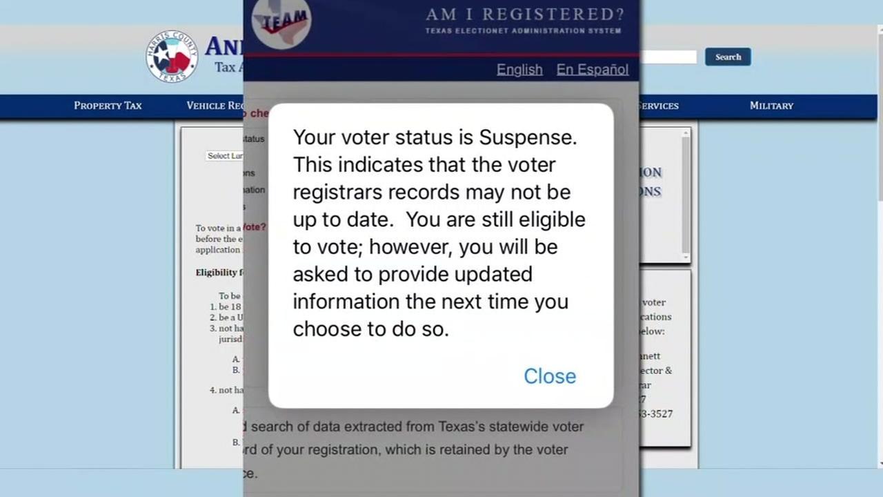 Voter registration suspended