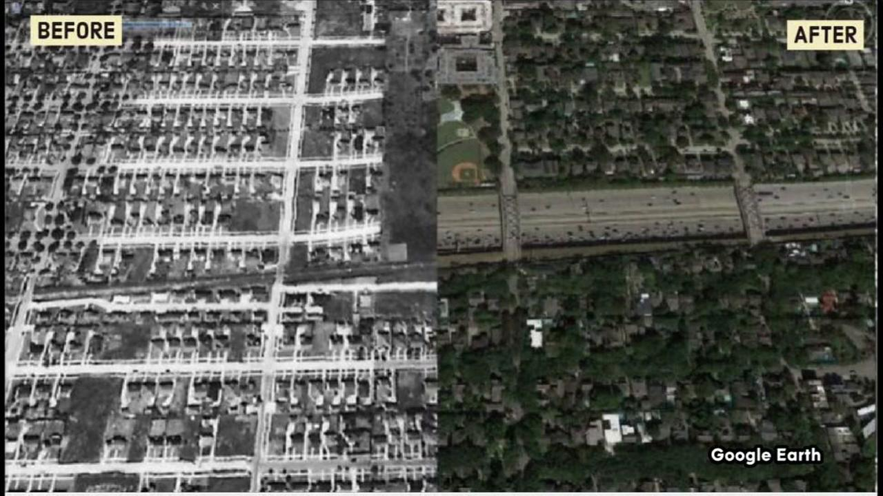 A before and after look at Houston freeways from the 1940s to present