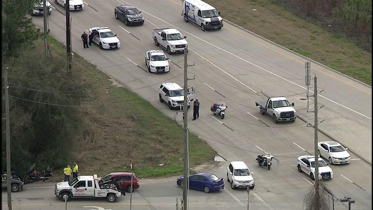A South Houston police officer was injured in motorcycle accident while escorting a funeral procession in the Tomball area
