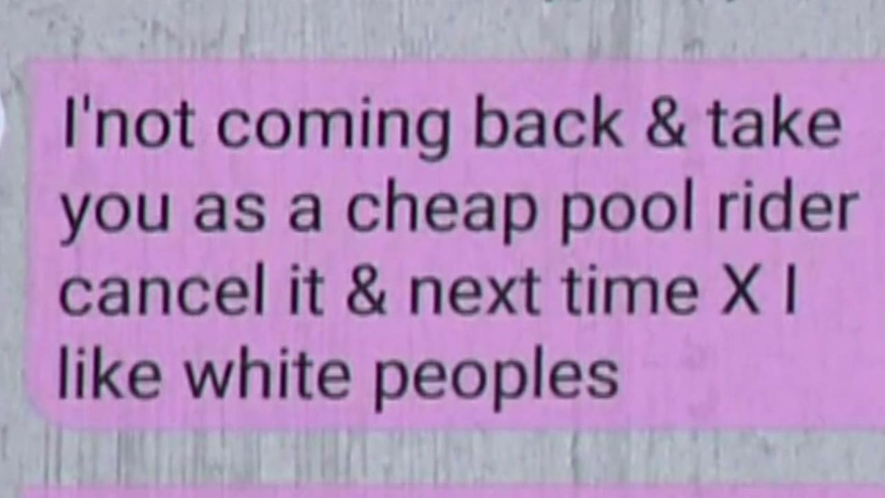 Woman claims Uber driver sent racist message