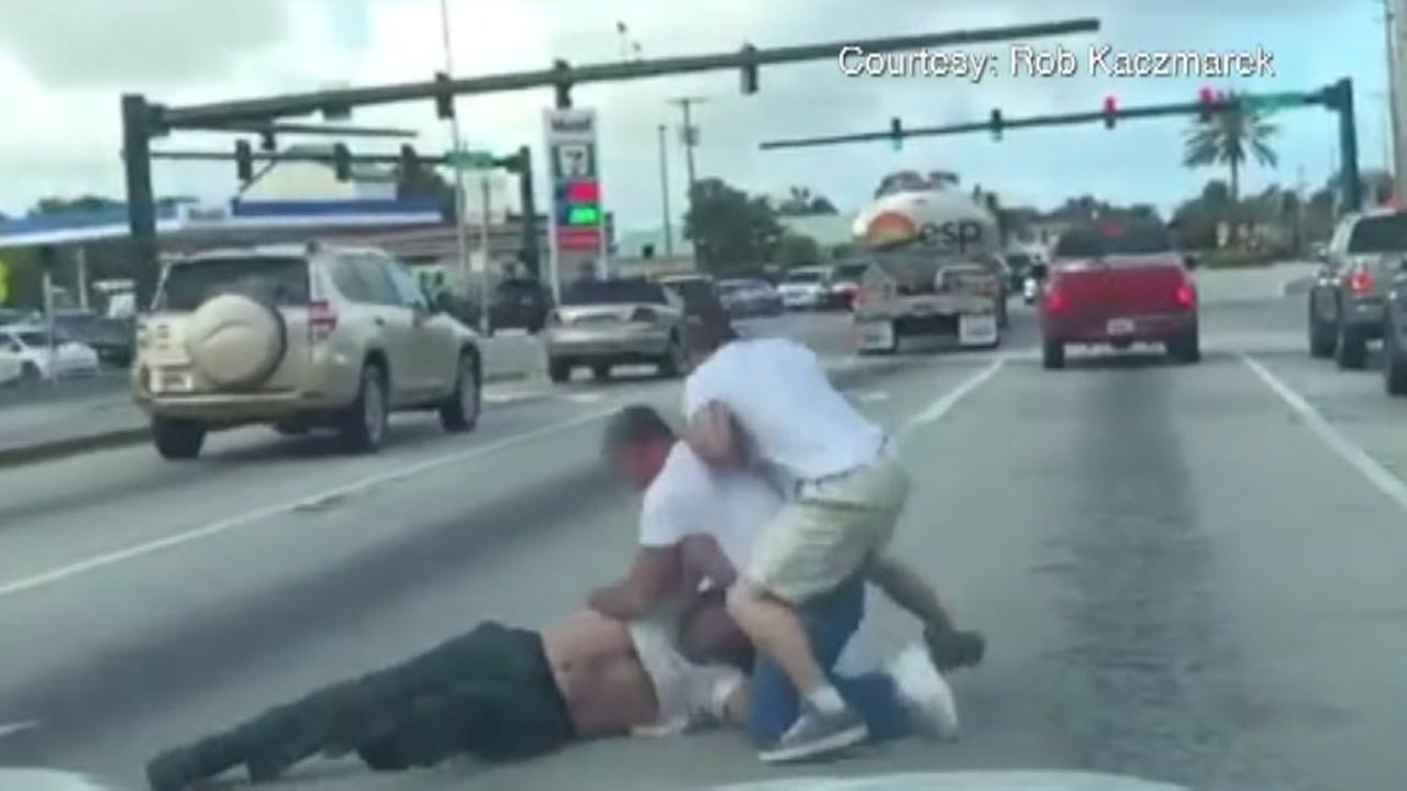 Road rage fight caught on camera in Florida